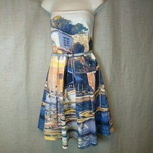 Eva Franco Anthropologie 12 Strapless Dress Wharf
